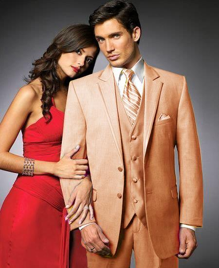 SKU#PJD89 2 Btn Suit/Colored Tuxedo Satin Trim outlines a Notch Lapel Matching Trousers Peach $595