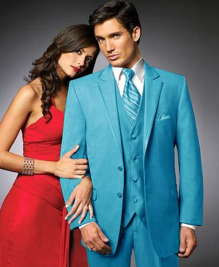 SKU#TUR4 2 Btn Suit/Stage Party Tuxedo Satin Trim outlines a Notch Lapel Matching Trousers turquoise ~ Light Blue Colored