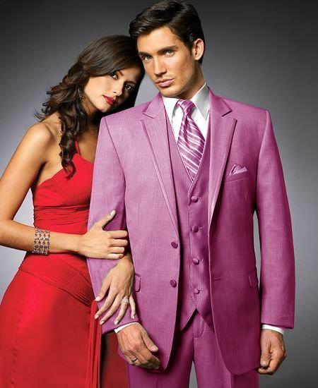 SKU#PJI4 2 Btn Suit/Colored Tuxedo Satin Trim outlines a Notch Lapel Matching Trousers Hot Pink ~ fuchsia ~ Rose $595