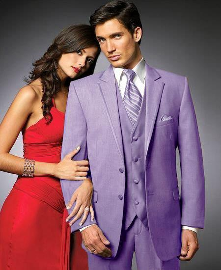 SKU#LVG2 2 Btn Suit/Colored Tuxedo Satin Trim outlines a Notch Lapel Matching Trousers Lavender $595