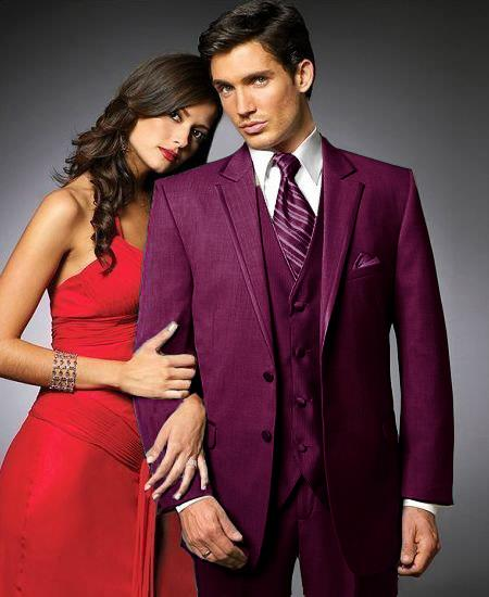 SKU#GBU8 2 Btn Suit/Colored Tuxedo Satin Trim outlines a Notch Lapel Matching Trousers Burgundy $595