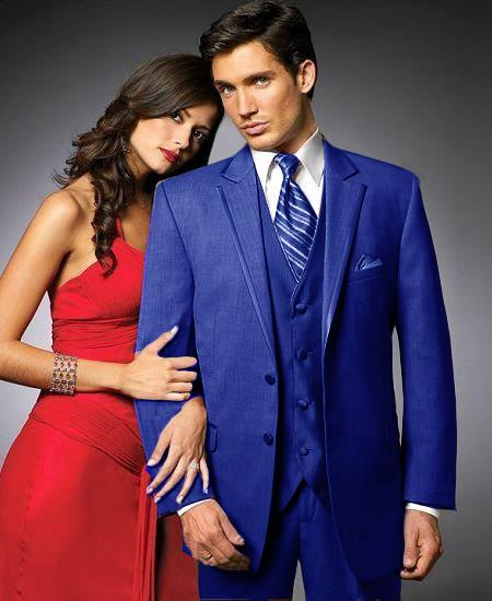 SKU#YJH3 2 Btn Suit/Colored Tuxedo Satin Trim outlines a Notch Lapel Matching Trousers Royal Blue $595