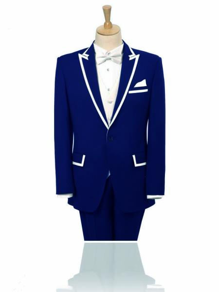SKU#FAF32 Peak Lapel Navy Blue 2 Button White Trim outlines Suit/Tuxedo/Blazer Peak Lapel 15 Days Delivery $585