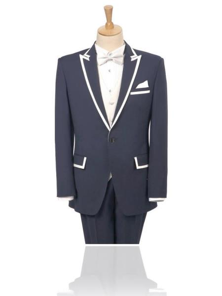 SKU#VGY83 Peak Lapel Charcoal 2 Button White Trim outlines Suit/Tuxedo/Blazer Peak Lapel 15 Days Delivery $585
