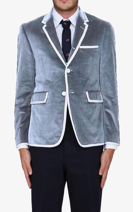 MensUSA.com Silver Gray Classic Cotton Rayon Blazer(Exchange only policy) at Sears.com