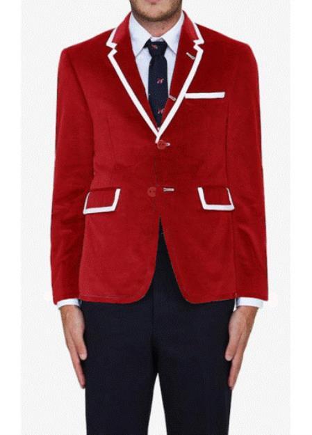 SKU#VRS7 Red Classic Velvet Blazer