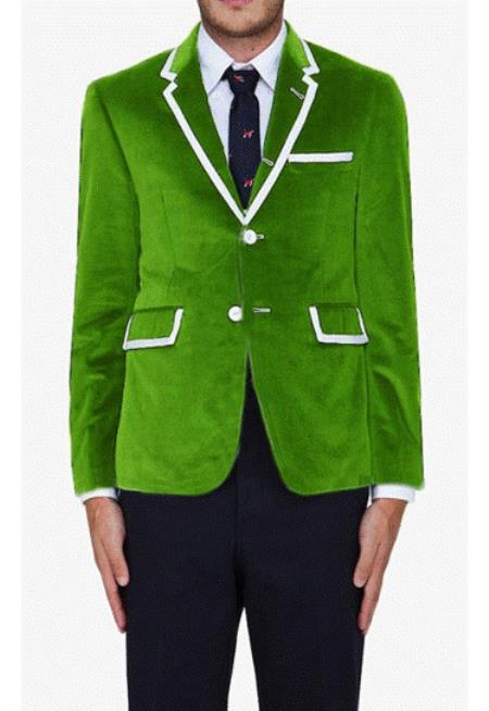 SKU#EVG8 Lime Green Classic Cotton~Rayon Blazer $595