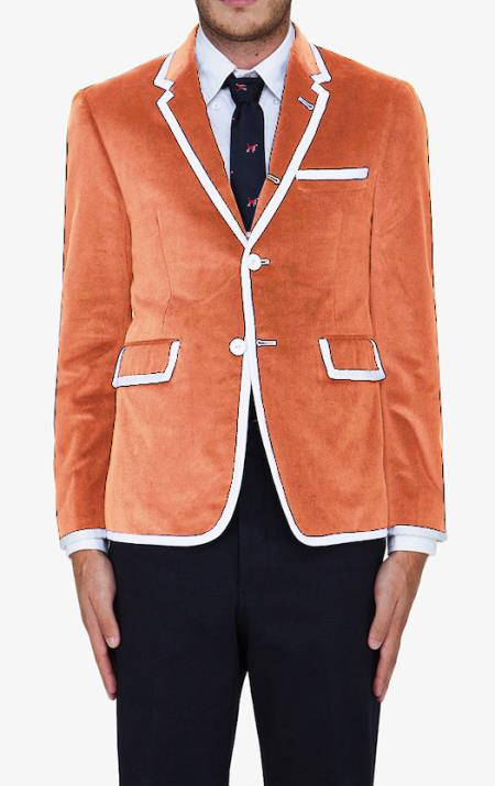 SKU#WF55 Orange-Peach Classic Velvet Blazer $595