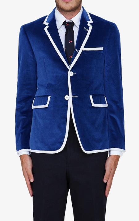 SKU#WVS8 Royal Blue Classic Velvet Blazer