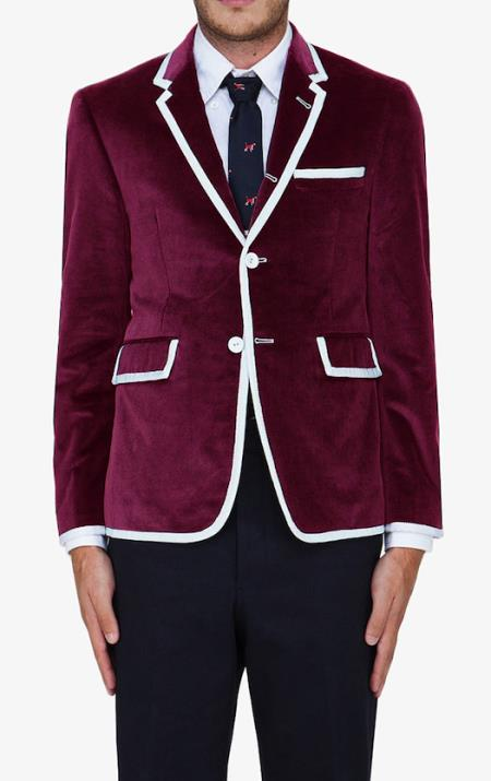 SKU#AAC3 Burgundy ~ Maroon ~ Wine Color Classic Velvet Blazer