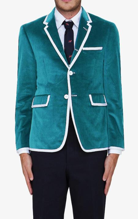 SKU#FFS9 turquoise ~ Light Blue Stage Party Classic Velvet Blazer $595