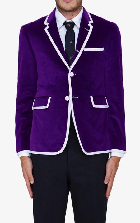 SKU#LVV4 Purple Classic Velvet Blazer $595