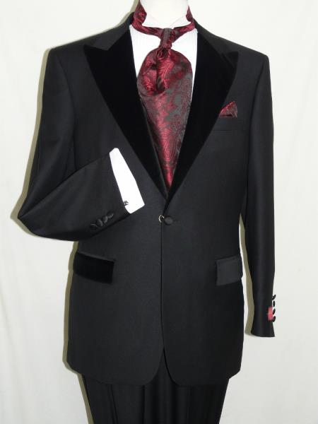 New 1940's Style Zoot Suits for Sale Mens Black Wool Formal Tuxedo Suit Velvet Trim Peak Lapel One Button $299.00 AT vintagedancer.com