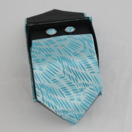 SKU#NS53 Mens 3-piece turquoise ~ Light Blue Colored Matching Tie, Cufflinks & a Complimentary Hanky $49