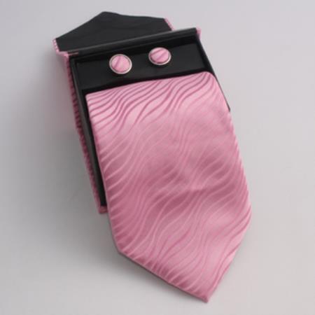 SKU#KT39 Mens 3-piece Pink Matching Tie, Cufflinks & a Complimentary Hanky $49