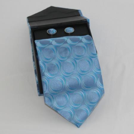 SKU#HL68 Mens 3-piece Blue Matching Tie, Cufflinks & a Complimentary Hanky $49