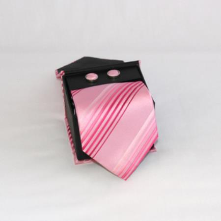 SKU#NQ51 Mens Three Piece Matching Tie, Cufflinks & a Complimentary Hanky Pink $49