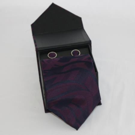 SKU#JM92 Mens 3-piece Dark Purple Matching Tie, Cufflinks & a Complimentary Hanky $49