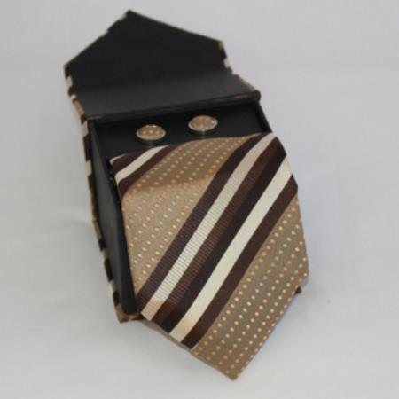 SKU#GM77 Mens 3-piece Brown Striped Matching Tie, Cufflinks & a Complimentary Hanky $49