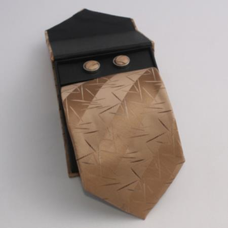 SKU#GK95 Mens 3-piece Tan Lined Matching Tie, Cufflinks & a Complimentary Hanky $49