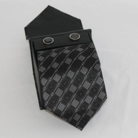 SKU#RV61 Mens 3-piece Black Diamond Lined Matching Tie, Cufflinks & a Complimentary Hanky $49