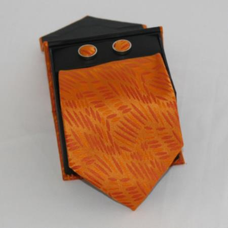 SKU#HA55 Mens 3-piece Orange Grain Matching Tie, Cufflinks & a Complimentary Hanky $49