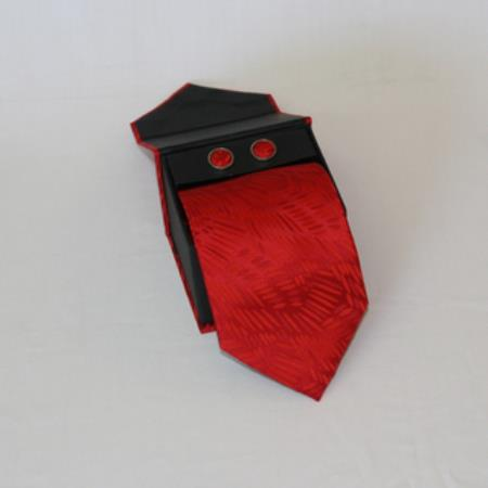 SKU#BK52 Mens 3-piece Red Grain Matching Tie, Cufflinks & a Complimentary Hanky $49