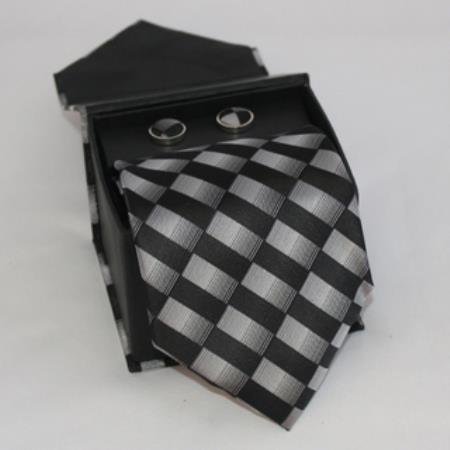 SKU#JF88 Mens 3-piece Black/ Grey Matching Tie, Cufflinks & a Complimentary Hanky $49