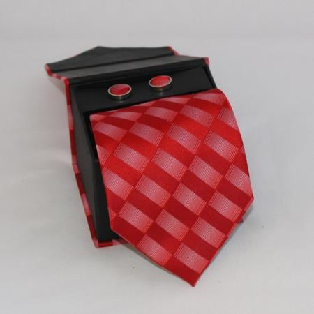 SKU#FDE3 Mens 3-piece Red Checkered Matching Tie, Cufflinks & a Complimentary Hanky $49