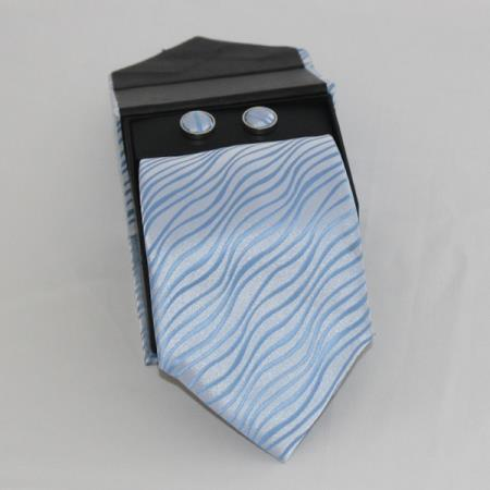 SKU#WQD3 Mens 3-piece Light Blue ~ Sky Blue Matching Tie, Cufflinks & a Complimentary Hanky $49