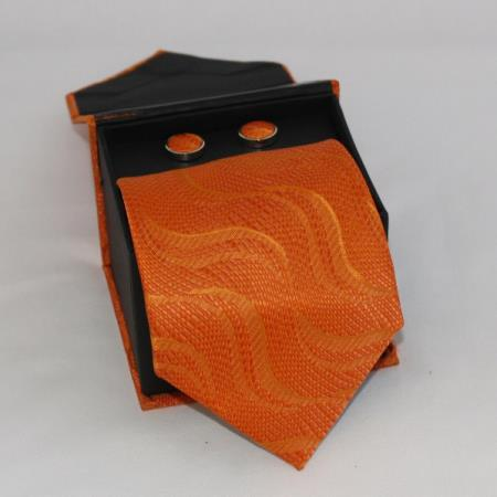 SKU#QDF3 Mens 3-piece Orange Matching Tie, Cufflinks & a Complimentary Hanky $49