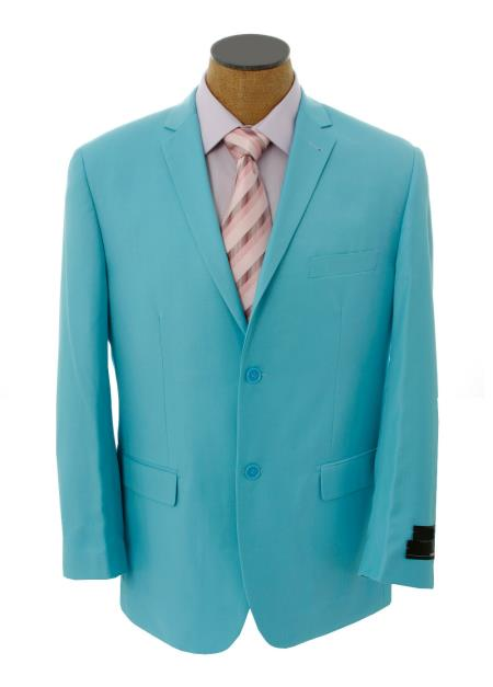 SKU#BNB3 Mens Solid Light Blue ~ Sky Blue Blazer