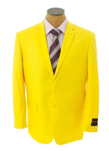 SKU#WGS7 Mens Solid Yellow Blazer $585