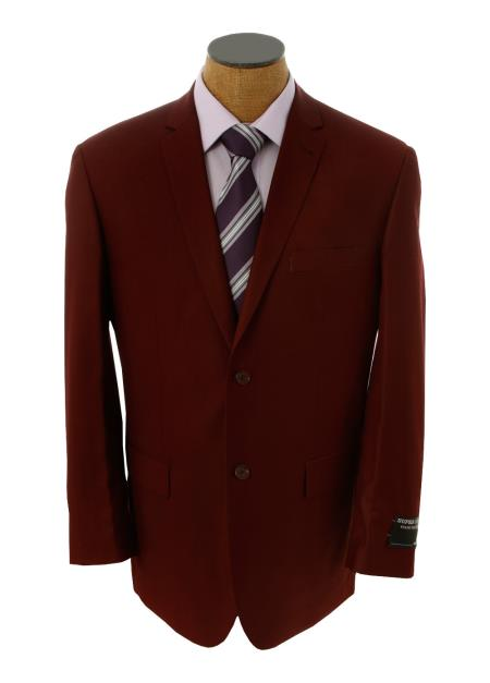 SKU#GGX39 Mens Solid Burgundy ~ Maroon ~ Wine Color Blazer