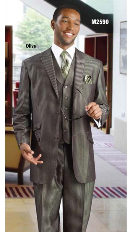 SKU#FFV3 Mens 3PC Vested three piece suit Olive $175