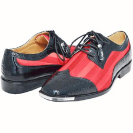 SKU#ASB6 Black / Red Mens Two Tone Dress Shoe Oxford: Wingtip $115