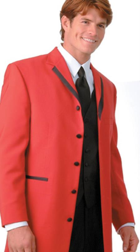 36 Inch Long Fashion Tuxedo Colored Tuxedo Satin Trim Notch Lapel Red $495