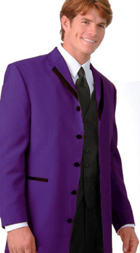 SKU#RGV4 36 Inch Long Fashion Tuxedo Colored Tuxedo Satin Trim Notch Lapel Purple $495