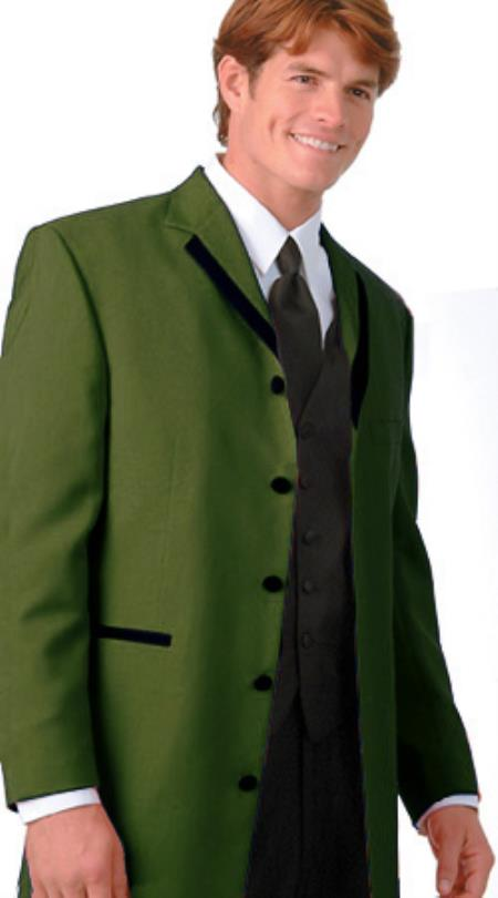 SKU#GBR3 36 Inch Long Fashion Tuxedo Colored Tuxedo Satin Trim Notch Lapel Olive $495