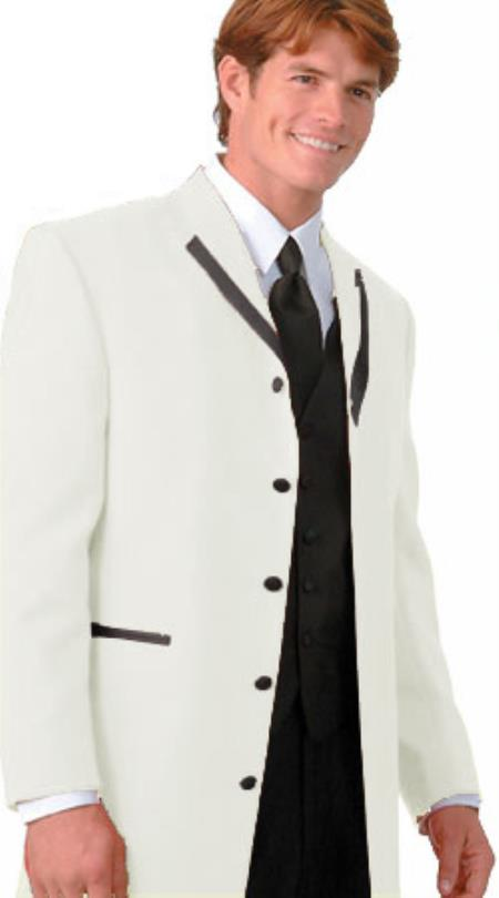 SKU#KWG1 36 Inch Long Fashion Tuxedo Colored Tuxedo Satin Trim Notch Lapel Off White $495