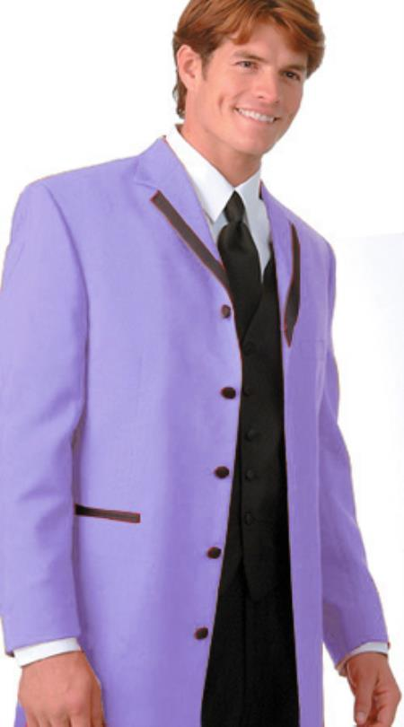 SKU#KHR6 36 Inch Long Fashion Tuxedo Colored Tuxedo Satin Trim Notch Lapel Lavender $495