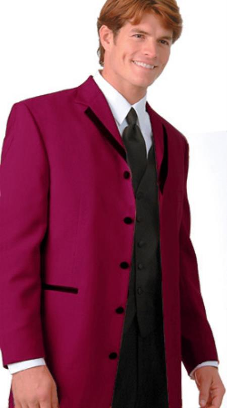 SKU#JNH 36 Inch Long Fashion Tuxedo Colored Tuxedo Satin Trim Notch Lapel Burgundy $495