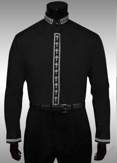 SKU#QH568 Cross Clergy Collar Cross Placket Dress Shirt Black $65