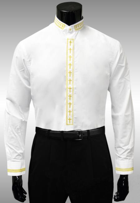 SKU#RG752 Mens White Gold Cross Clergy Collar Placket Dress Shirt $65