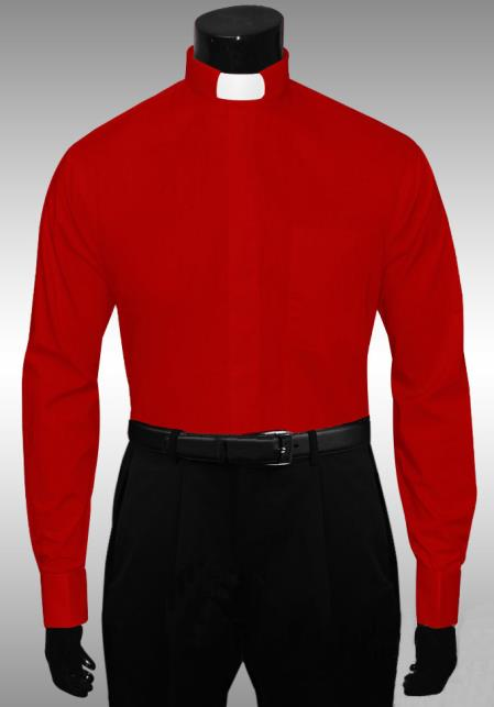 SKU#HK876 Red Clergy Tab Collar French Cuff Mens dress shirts without collars Mandarin Collarless $65