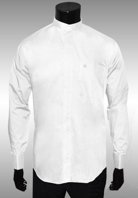 SKU#JN721 Nehru Collar Dress Shirt White Lightweight Fabric $65