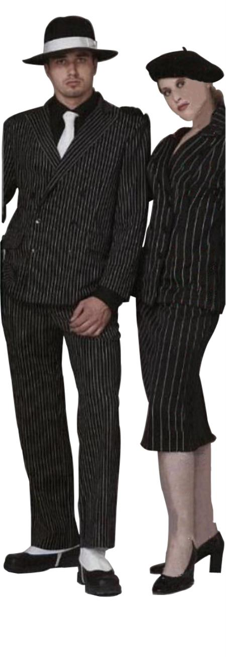 SKU#VINDSS4B63 Classic Gangster Jet Black & White Pinstripe Double Breasted Fashion Suits (Not L