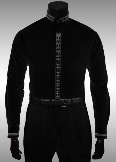MensUSA.com Black White Cross Crown Clergy Collar Dress Shirt(Exchange only policy) at Sears.com