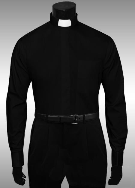 SKU#VF436 Clergy Tab Collar French Cuff Mens Shirt $65