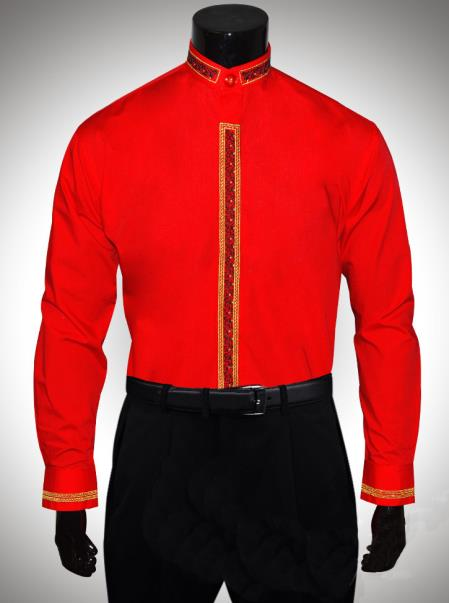 SKU#FR745 Dress Shirt Red Gold Clergy Collar Metallic Trim $65